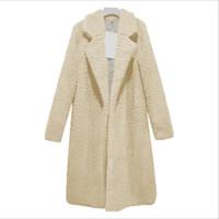 Abrigo de peluche sólido Abrigo de invierno Mujeres Abrigos y chaquetas de LANA Larga Manteau Femme Hiver Abrigos Mujer Elegante Cappotto Donna WT026
