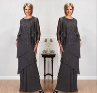 긴 소매 재킷 보석 목 스팽글 이브닝 가운 층 길이 웨딩 파티 드레스와 신부 드레스의 회색 레이스 어머니