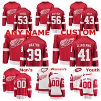 Detroit Red Wings Jerseys Luke Glendening Jersey Darren Helm Taro Hirose Ryan Kuffner Anthony Mantha Rot Weiß Hockey-Trikots Gewohnheit Stitced