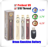 Onceden VV Yeni UK E CIG Sigara Brass Knuckles Vape Kalem 650mAh 900mAh Ayarlanabilir Voltaj Ahşap Pil SS Altın 510 Konu