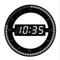 Horloges murales 3D LED Horloge numérique Nuit électronique Laufrage rond Ajuster automatiquement la luminosité Bureau de la luminosité