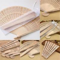 50 teile / los personalisierte sandelholz faltende hand fans hochzeit favorisiert fan party werbegeschenke mit Transparent seidengarn verpackung