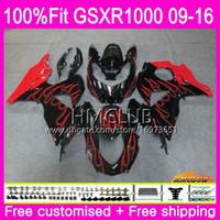 K9 For SUZUKI GSX-R1000 GSXR 1000 09 10 11 12 13 15 16 13HM.19 GSX R1000 GSXR1000 2009 2010 2011 2012 2014 2015 2016 New Red flames Fairing