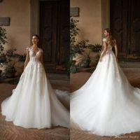 Milla Nova Boho линия свадебные платья кружева аппликация Sheer шеи Богемия развертки поезд свадебное платье Свадебные платья Vestidos de Novia