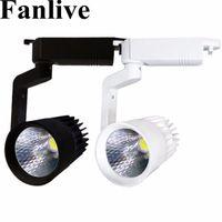 Fanlive 20шт 10W 20W 30W Светодиодный трековый светильник Алюминиевый потолочный рельсовый светильник COB Spot Spot Rails Замените галогенные лампы