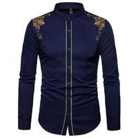 Design Mode pour hommes Collier unique Cour stand boutonnage or brodé Rimmed Chemise à manches longues couleur unie Quatre couleurs Hommes shirt