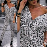 Women Serpentine Long Jumpsuit Sexy V Neck Overalls 2020 Summer Casual Loose Snake&Leopard Print Romper Baggy Playsuit Jumpsuit