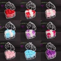 El yapımı Kokulu Gül Sabun Çiçek Romantik Banyo Vücut Sabunu Yaldızlı Sepet ile Gül Sevgililer Düğün Noel Hediyesi Için 6 Adet Kutu HH7-1986