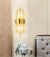 Goldene Metall Wandleuchte Luxus Glas Kristall Light Fixture für Schlafzimmer Wohnzimmer AC85-260V