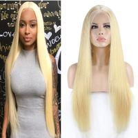 # 613 Блондинки Парики из Натуральных Волос с Волосами Младенца Предварительно Сорвал 180% Плотность Бразильские Волосы Девственницы Прямые Парики Шнурка Для Женщин 40 дюймов