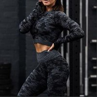 2019 neueste frauen nahtlose camo sports yoga shirts mit langen ärmeln camouflage crop top energie yoga sport fitness gym workout shirts
