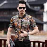 Ricamo Vedi Attraverso Camicia Flower Lace Shirt Uomo Chemise Homme Marque Luxe Mesh Transparent 2019 Summer Short Sleeve