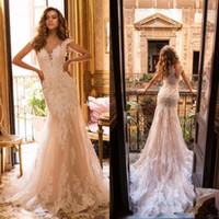 두바이 럭셔리 페르시 Mermiad 웨딩 드레스 2020 새로운 빈티지 모자 슬리브 웨딩 가운 Vestidos 드 소비 아플리케 레이스 버튼 다시 신부 2073