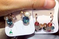 Maravillosa moda al por mayor venta caliente 10 unids / lote precio bajo de alta calidad de diamante 925 de plata dama pendientes 9.4kjk