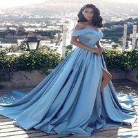 New Sexy Sky Blue A Line Off The Shoulder Vestido de noche Side Split Vestidos de satén Vestido largo para ocasiones especiales Vestidos Árabe 2017