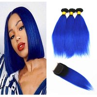 Color 1B Blue Straight Hair Bundles with 4x4 Hair Closure Fr...