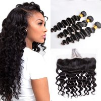 Brazilian Loose Deep Human Hair Wefts with 13x4 Lace Frontal...