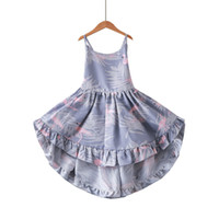 New Summer Girls Salut Lo Robe De Mode Dos Nu Flamingo Fleur Imprimé Coton Robe De Mode Enfants Vêtements
