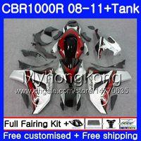 ボディ+タンク用ホンダCBR 1000RR CBR 1000 RR 2008 2009 2011 277HM.36 CBR1000RR 08 10 11 CBR1000RR 08 09 10 11赤い銀色のホットフェアリング