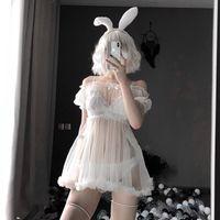 Женские пижамы Kawaii кружева Babydoll сексуальное женское белье Pajamas набор для женщин Nightdress Tulle искушение См. Через платье Эротический косплей