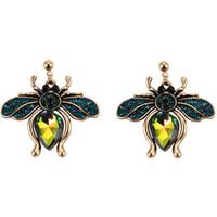 nueva insectos vintage de moda de diseñador de lujo muy linda preciosa forma exagerada cristal abeja hermosa pendiente del perno prisionero de la mujer muchachas 3 colores