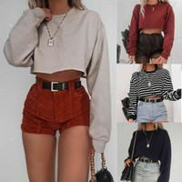 Женская с длинным рукавом Crop Top Дамы Повседневная Сыпучие Полосатая блузка рубашка хлопка пуловер Топ Streetwear