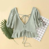 Summer Blouses Women' s Slim V- neck Ruffled Shoulder V- n...