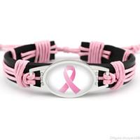 Kämpfer Brustkrebs Bewusstsein Rosa Ribbon Charme Leder Armbänder Gelbes Band Gewebt Seil Armreif Für Frauen Erklärung Schmuck Geschenke