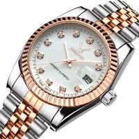 Fashion Steel band métal montre en or rose Bracelet pour hommes et femmes Robe cadeau Montres masculino