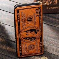 Hombres creativa retro dólares carpeta larga del patrón de impresión de dinero América Zipper la cartera titular de la tarjeta de clave de moneda del dólar de EE.UU. monedero VT1594 T03