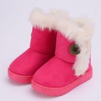 Winter Girls Boots Теплые дети Снежные ботинки для детей Новый малыш зимняя принцесса детская обувь нескользящаяся плоская круглая носок девочек девочки милые ботинки