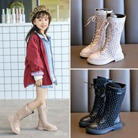 Retail Children girl English princess boots high Cross- tied ...