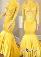 2019 새로운 노란색 긴 소매 댄스 파티 드레스 인어 높은 목 빈티지 아프리카 이브닝 가운 열쇠 구멍 Vestidos de Fiesta BC1443을 통해 봅니다.