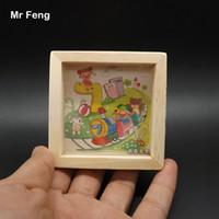 Mini tren Patrón Laberinto Juegos de mano Maze Ball Balance para padres e hijos (Número de modelo B067)