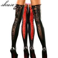 Chaussettes Hosiery Dame Black Sexy Latex Bas érotique pour les sous-vêtements Costume Bandage Club Vêtements High Vintage Stocking