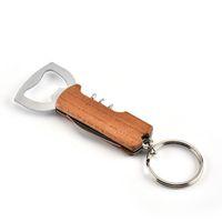 Manico in legno Apribottiglie Portachiavi Keychain PullTap Double Cinturino Cavatappi in acciaio inox Acciaio inox Apri portachiavi Bar Cucina Vino strumento VT1258