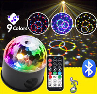 Luz de la bola del disco del LED MP3 música Bluetooth USB portátil 9W 9 modos de color Dance Hall Strobe Mini LED Luz de la etapa de la luz del partido