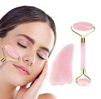 2 الألوان الوجه الجمال تدليك أداة الطبيعية اليشم الرول الوجه رقيقة مدلك الوجه الوزن تفقد تزيين وتجميل الرول أداة.