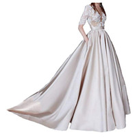 Women Long Lace Elegant Bridal Gowns Champagne Stain Half Sl...
