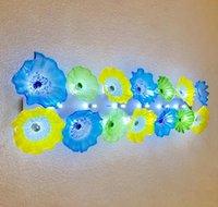 Multi Цветной цветок Тарелки настенные лампы Italian Design Рука выдувное стекло стена освещение LED Murano Glass Art Wall Бра