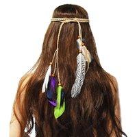 Hair Jewelry Head Chain Wedding Bohemian Floral Headband Elastic Peacock Feather Hair Hoop for Women and Girls Festival Wedding