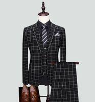 Traje de hombre Traje de diseño a cuadros negros 3 piezas Novio de 2 botones Boda Esmoquin formal Ropa de hombre de negocios