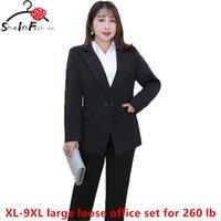 Plus Size 9XL Bürofrau Große lose Büro Blazer und Hosen Formal Sets Damen Jacke Anzüge Blazer Damen Femme Mujer