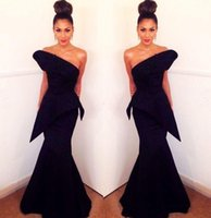 섹시한 하나의 어깨 검은 이브닝 드레스 백리스 새틴 머메이드 댄스 파티 드레스 공식 파티 가운 플러스 사이즈 특별 행사 여성 착용