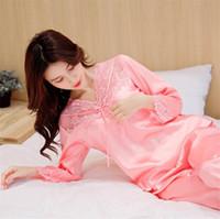 Pijamas de seda ropa de dormir conjunto Loungewear Tamaño más dulce del cordón mujeres de los pijamas de manga larga con cuello en V Establece Home Use ropa