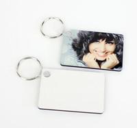 20pcs Sublimation blanc MDF Rectangl en bois porte-clé Transfert de transfert d'impression design photo personnalité publicité cadeau personnalisé pour Sac Pièces