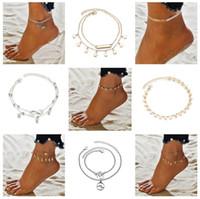 18 styles été plage tortue en forme de charme corde corde bracelets de cheville pour les femmes cheville bracelet femme sandales sur la jambe chaîne pied bijoux