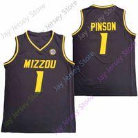 2020 Nova NCAA Missouri Tigres Jerseys 1 Xavier Pinson College Basketball Jersey Tamanho Preto Juventude Adulto