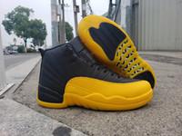 İyi Kalite 12s Üniversite Altın 12 Siyah Sarı Erkek Basketbol ayakkabıları Sports spor ayakkabılar Boyut 7-13
