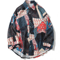 Mens Fashion Japanese Geometric Patchwork Long Sleeve Shirts...